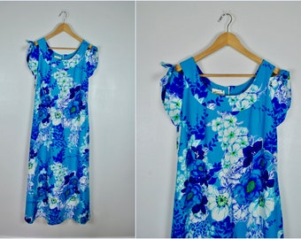 Sing the Blues Authentic Vintage Hawaiian Dress, Vintage Hawaiian Gown, Vintage Floral Dress