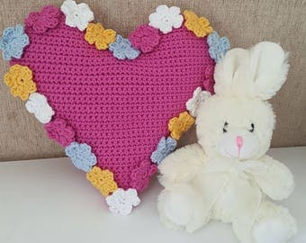 Crochet Pattern Spring Flowers Heart Cushion PDF, uk and us versions No35 pink yellow blue baby newborn