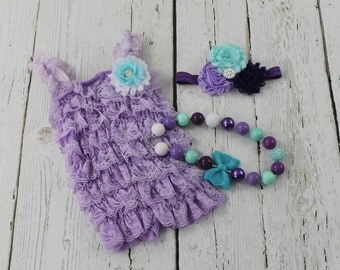 Little Mermaid 1st Birthday Outfit Under the Sea Outfit Lavender Petti Lace Romper Chunky Necklace Baby Girl Headband Cake Smash Outfit