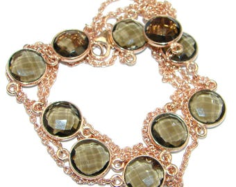 Smoky Topaz Sterling Silver Necklace - weight 17.50g - dim 3 8 inch - code 16-lis-16-46