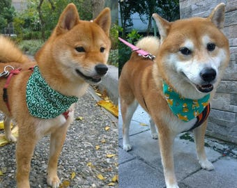 Dog bandana Japanese Karakusa print Shiba Inu bandana Reversible pet bandana Slide on dog collar bandana with Shiba Inu dog & arabesque (L)