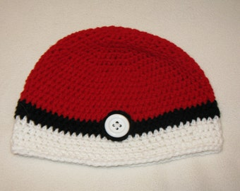 Pokeball Hat crochet beanie - Extra large