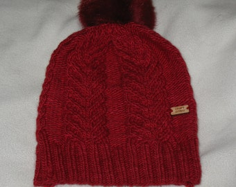 100% Wool Knit Hat - red with antler cable texture