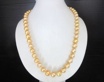 Glass Pearl Necklace Golden Yellow & Individually Knotted 24k Gold Plated Filigree Clasp 18 Inches