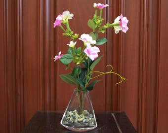 Silk Floral Arrangement - Pink and White Flowers Small (S18-7)