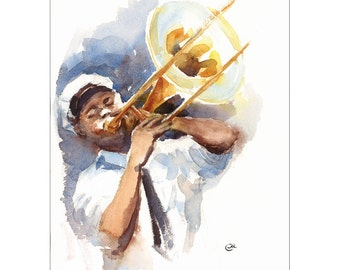 New Orleans Jazz Player - Original Watercolor Painting 9 x 12 inches Trombone Music