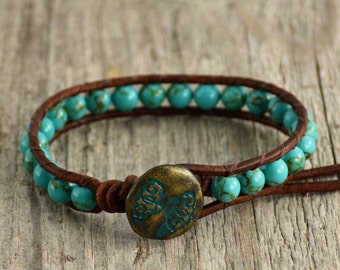 Turquoise beaded leather wrap bracelet. Stackable boho chic bracelet