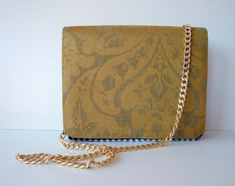 FREE SHIPPING Handbag, Shoulderbag, Crossbody-bag, gold, white, black, with chain