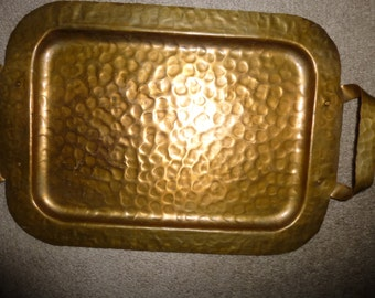 Charming Hammered Copper Tray With Handles - Prairie/Craftsman Form - Functional or Decor