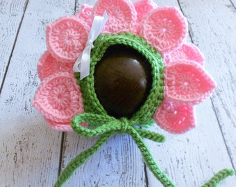 Crochet Flower Bonnet-Petal Pink- Newborn to 6-12 Months