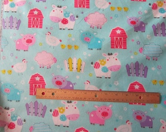 Blue Girly Farm Animal/Cow/Pig/Sheep/Chicken Flannel Fabric by the Yard