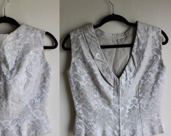 50% off  Lovely Ivory Jacquard Tank with Deep V Back     1950s     Small