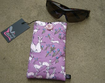 Padded phone cover ,sunglass case, cell phone cover, ipod case , gadget case, rabbit print fabric. phone sleeve protector