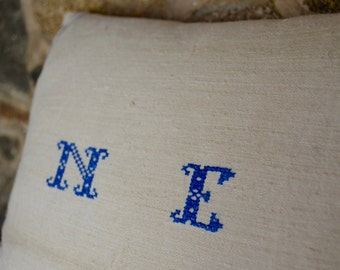 Vintage European Grain Sack Blue Striped Monogrammed Pillow
