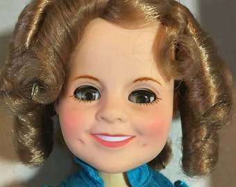 """Shirley Temple doll 8"""" doll from Ideal with box, stand and wrist tag"""