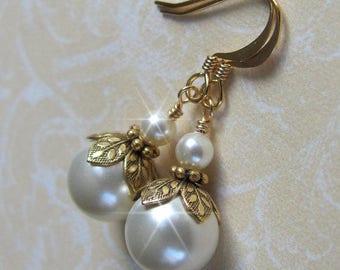 14K Gold Bridesmaid Earrings, Vintage Inspired Pearl Earrings, Gold Pearl Drop Earrings Ivory or White Pearl Earrings Antique Style Earrings
