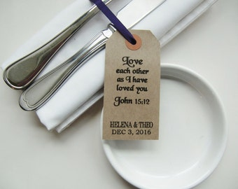 Rustic Wedding Table Decor-Wedding Napkin Ties-LOVE EACH OTHER-Rustic Tags with Religious Text-Rustic Wedding Favors-Wedding Favour-Weddings