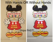 RESERVED for Stacy  Mickey Mouse Birthday Door Sign,by FeistyFarmersWife