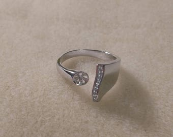 MADE to ORDER!!!! Sterling Silver Adjustable Fancy Top CZ Ring-- Made to order with your pearl from the Pearl Party!!