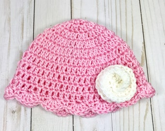 Baby hat, crochet baby hat, baby girl hat, pink hat, 6-12 month baby hat