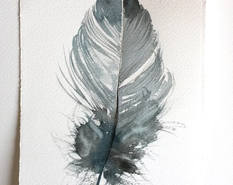 Watercolour feather painting original, Gray feather illustration, Fantasy feather artwork, Feather wall art 7,5x11/Minimalist art Home decor
