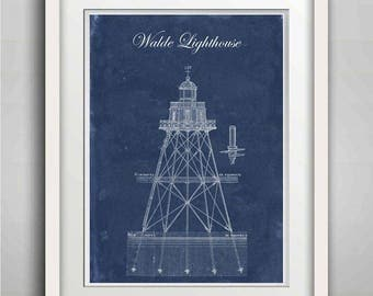 Walde Lighthouse, Architectural drawing, Rustic Vintage Print Poster, Beach House Decor, Wall Decor, Lighthouse Decor, Seaside Decor