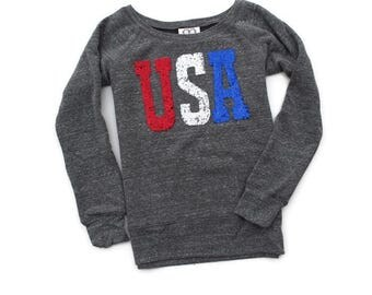 4th of July Shirt. Sequin 4th of July Sweatshirt Jumper. Red White and Blue. USA.  Fourth of July.  America American Flag Merica. Tumblr