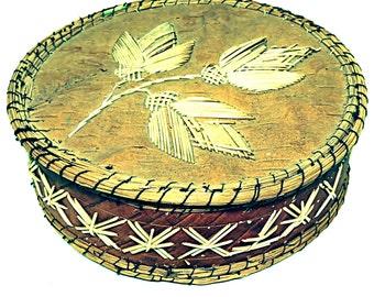 Native American Quill Box Americana Folk Art Porcupine Quill Sweet Grass Birch Bark Silver Foil