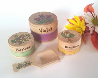 Flowering Herbs Containers for Waldorf Wooden Kitchen, Waldorf Inspired Toys, Natural Pretend Play Food, Spring Flowers, Apothecary Playset