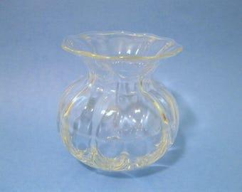Orrefors Small Optic Globe Vase, Swedish Clear Crystal,
