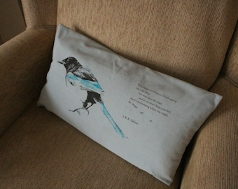 Blue Magpie Screen Printed Cushion