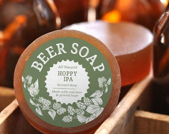 Beer Soap (Hoppy IPA) - All Natural + Made in USA - Actually Smells Good! Perfect Gift For Beer Lovers