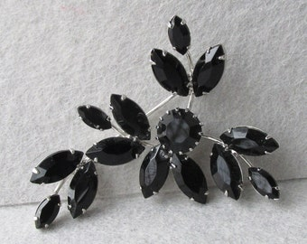 1960's Vintage ALL Black Rhinestone Silver Tone Flower Spray Pin