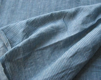 """47"""" Wide pin striped Greyish blue and white Pure Linen Fabric by Yard"""