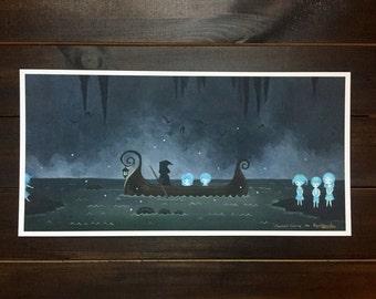 "Ltd edition fine art print, ""Charon's Crossing"" 6x12 Greek mythology, underworld, river Styx, pop surrealism, creepy, dark, whimsical"