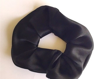 Black Silk Hair Scrunchie