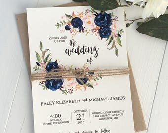 Rustic Navy Wedding Invitation Suite, Modern, Bohemian Wedding Invite Set, Rustic Floral Wedding Invitation, Boho Chic