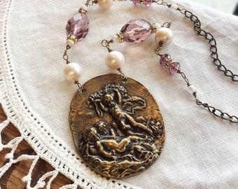 Cherub Statement Necklace - angel necklace victorian necklace purple necklace
