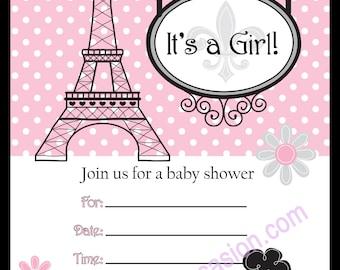 Downloadable - Paris Poodle Invitation 5X7