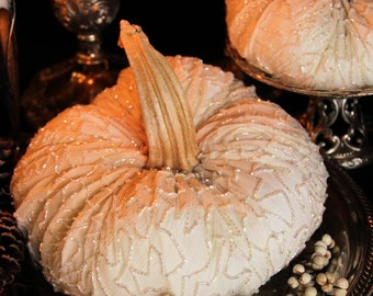 White Pumpkins Velvet Pumpkins Fall Wedding Centerpiece Set of 2 Pumpkins Bridal Baby Shower Ivory Pumpkin Autumn Goth Elegant Vintage silk