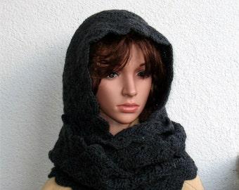 Crochet black circle hood. Hooded cowl scarf. Infinity black Scarf. Crochet womans hood scarf. Black Hooded Scarves For Womens. Black hood.