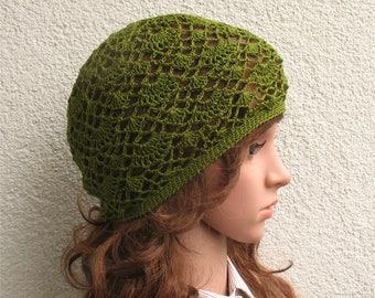 Women's Crochet Summer boho beret slouchy hat Summer slouchy beret hat 100% natural dark green Linen tams hat Women's Summer Slouchy Tam Hat