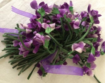 Bunch of Vintage Violets in Silk