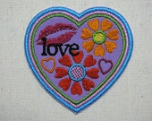Love Patch - Heart Patch - Embroidered Iron-On Patch - Flowers, Kiss, Hearts - Hippie Patch - Accessories - Jeans Patch - Jacket Patch