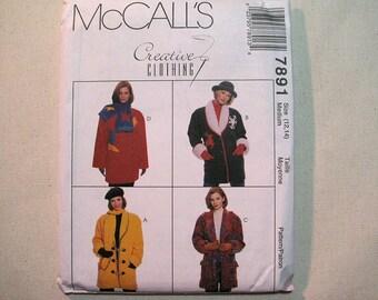 Vintage McCalls 7891 Jacket, Scarf Sewing Pattern - Misses Medium Size 12, 14 Jacket Pattern - Creative Clothing - Vintage Sewing Supplies