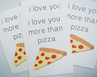 """Card """"love you more than pizza"""" gift Valentine's day - Valentine's day gift"""