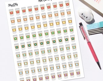 Printable Coffee Stickers, Planner Stickers, Any Planner, Coffee stickers, Cute stickers, Coffee Drink stickers, Java stickers