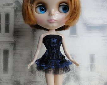 Gothic burlesque dark blue and black corset hand made fits Blythe doll