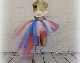adult high low 4th of july tutu,captain america tutu,patriotic tutu, rave clothes, adult tutu dress,high low tutu, american pride tutu