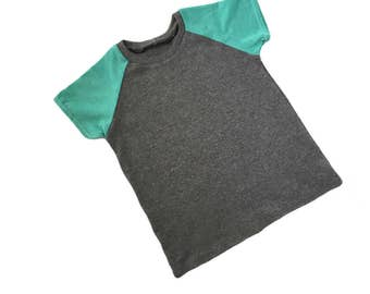 Gray & Aqua Raglan Tee / Raglan Tee / Top / Baby Shirt / Toddler Shirt / Kid Shirt / Baby Boy / Toddler / Kid